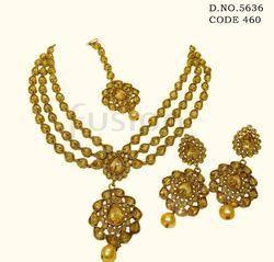 Traditional 3 Line Antique Necklace Set