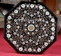 Octagonal Black Marble Pietra Dura Table Top