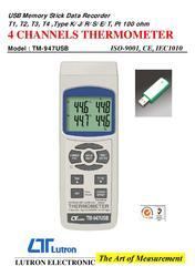 Four Channel Thermometer TM 947USB LUTRON