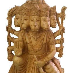 Wooden Ram Bhakt Hanuman Statue