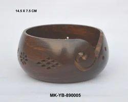 Wooden Handicrafts Wooden Yarn Keep Bowl Exporter From Moradabad