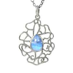 Afternoon Sun 925 Sterling Silver Rainbow Moonstone Pendant