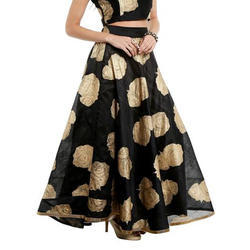 Ira-Soleil-Black-Skirt-Printed-With-Gold-Tinsel-Print