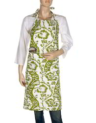 Hand Block Floral Leaves Parrot Green Cotton Apron