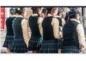 Green And Cream Cotton International School Girls Uniforms
