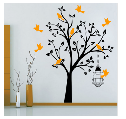 trees and animals wall stickers - innovative bird tree wall decal