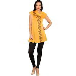 Ira-Soleil-Yellow-Polyester-Knitted-Stretchable-Asymentrical