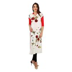 Ira-Soleil-White-Red-Viscose-Knitted-Stretchable Rose Printe