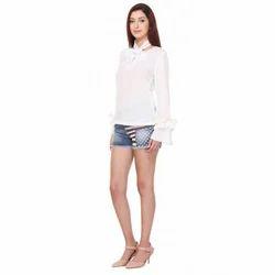 White Designer Shirt For Ladies