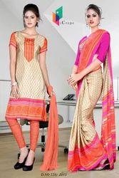 Light Brown and Pink Italian Crepe Uniform Saree Kurti Combo