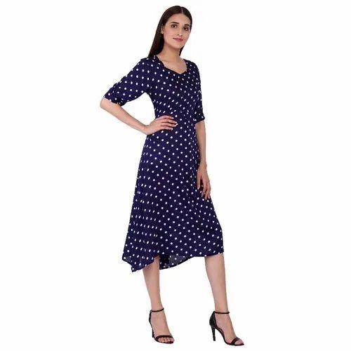 7c593775ee2 Western Dress - Blue N White Polka Dress Manufacturer from Chandigarh