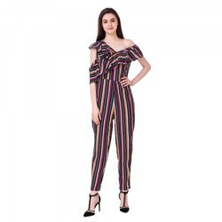 Stripe Ruffle Jumpsuit Dress