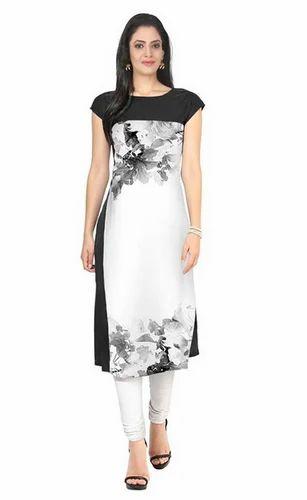 c29fde64c6 Women Kurtis - White   Black Printed American Crepe Cap Sleeves ...