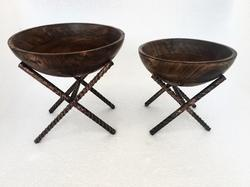 Wooden Bowls with Riser Stands