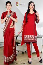 Maroon and Red Italian Crepe Uniform Saree Kurti Combo