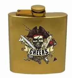 Personalized Hip Flask - Gold 7 OZ