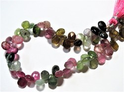 Natural Multi tourmaline Faceted Briolette Gemstone beads