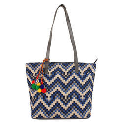 Nava Blue Jacquard Tote Bag
