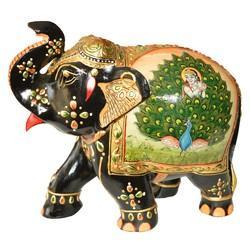 Wooden Painted Elephant With Peacock Design
