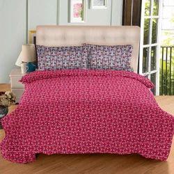 Always Plus Pink, Brown, Blue Cotton Bedsheet