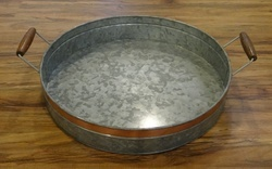 Galvanised Round Tray With Copper Trip & Wooden Handle