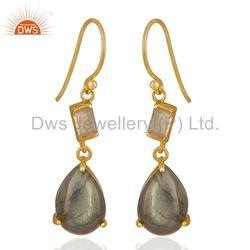 Natural Gemstone Gold Plated Silver Drop Earrings