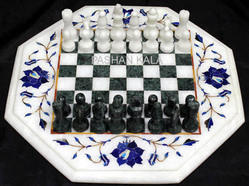 White Marble Chess Table Tops