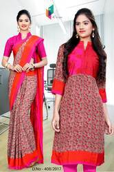 Pink And Orange Italian Crepe Uniform Saree Kurti Combo