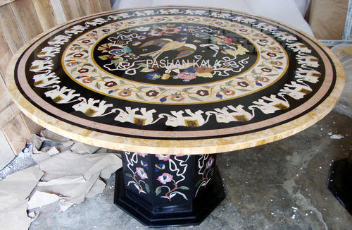Inlay Marble Table Tops   Rectangular Black Marble Inlay Table Tops  Wholesale Trader From Agra
