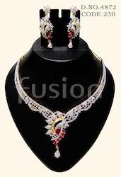 American Diamond Ruby Necklace Set
