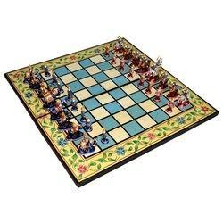 Wooden Metal Chess With Meenakari Work