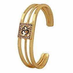 Gold Plated Om Bracelet/ Kada For Men And Women