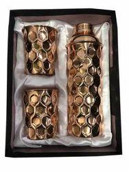 CopperKing Copper Gift Set Diamond Fanta Bottle With 2 Glass
