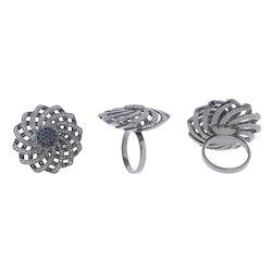 Pave Diamond Filigree Floral Ring