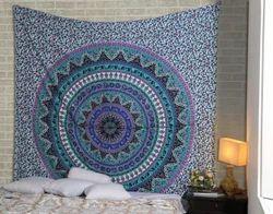Purple Mandala Kerala Printed Floral Tapestry