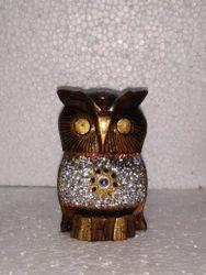 Wooden Owl With Chamki Work