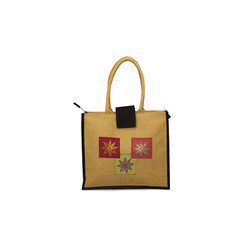 Jute Berry Yellow Embroidery Patch Work Jute Bag