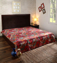 Cotton Paisley Printed Kantha Bed Cover