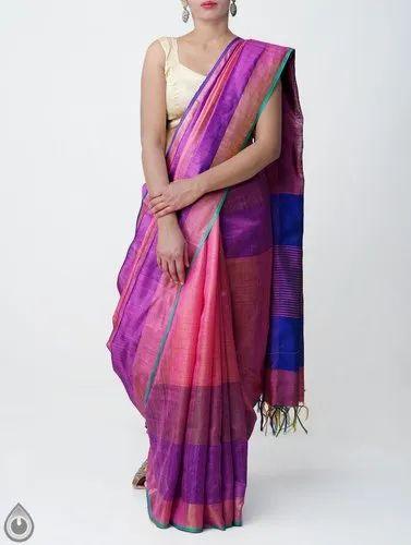 a45fa66879 Tussar Silk - Pure Handloom Muga Tussar Silk Checks Saree With ...