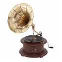 Antique Gramophone With Brass Horn