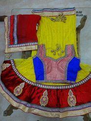 Yellow Net Embroidered Lehenga Choli