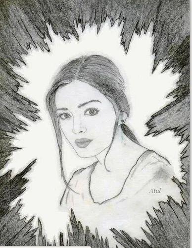 Black and white pencil portrait sketch