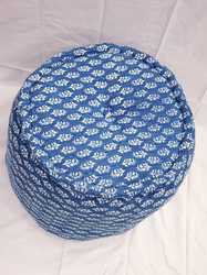Indigo Blue Hand Block Print Pouf With Cotton Filling Pouf Ottoman