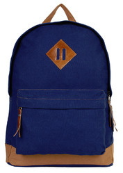 Basic Blue Canvas Backpack With Leather Trims