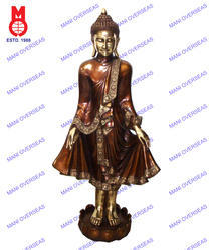 Lord Buddha Standing On Lotus Base W/ Shawl Statue
