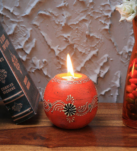 Wooden Decorative Item Rajasthani Wooden Candle Stand For Gifting