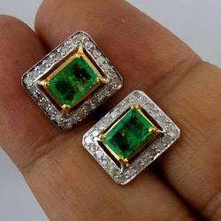 Emerald Diamond Ear Studs