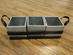 Galvanised Flatware 3-Partition Storage Caddy
