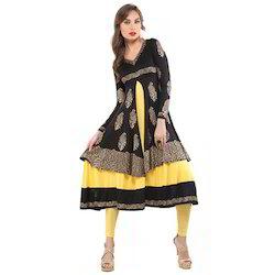Ira Soleil Black & Yellow Block Printed Viscose Knitted