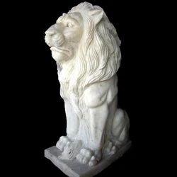 Sitting Lion Marble Sculpture